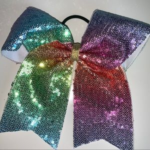 Other - Large Pastel Rainbow sequin Cheer bow NEVER USED!